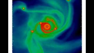 Planetary System Formation Simulation (200 AU View)