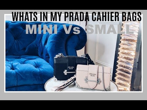 WHATS INSIDE MY PRADA CAHIER BAGS   COMPARING THE MINI AGAINST THE SMALL CAHIER   IAM CHOUQUETTE