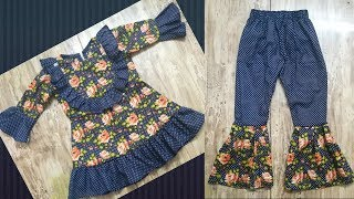 Trendy ruffle top with trouser design for a 5 year old using only 2 meter fabric