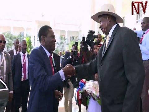 Long-serving Equatorial Guinea President Obiang Nguema visits in Uganda