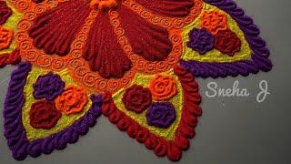 Beautiful rangoli design with colours l muggulu kolam rangoli l रंगोली डिजाइन l Rangoli designs