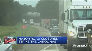 CNBC's Contessa Brewer reports on road closures resulting from Hurr...