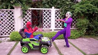 WWW DOWNVIDS NET Spiderman Power Wheel Ride On w  Joker Thief Car and Learn Colors  FUNNY Songs, Go