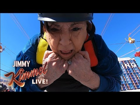 Jimmy Kimmel Takes Aunt Chippy, Guillermo & Cousin Sal Zip-Lining