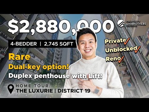 The Luxurie :Rare 4-Bedder Singapore Duplex Penthouse with Lift!   District 19 ($2.88M, Home Tour )