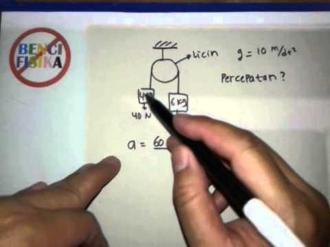 cara-cepat-fisika-hukum-newton,percepatan-benda-pada-katrol-licin