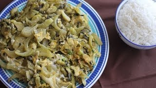 Stir-fry Pickled Mustard Green With Eggs (dua Cai Chua Xao Trung)