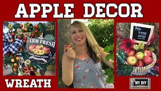 Apple Decor 🍏  Dollar Tree DIY   Farmhouse Apple Wreath 🍎