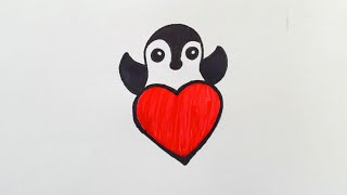 valentine easy drawing special penguin