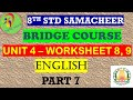 8th English Work Sheet 8 and 9 Bridge Course Answer Key