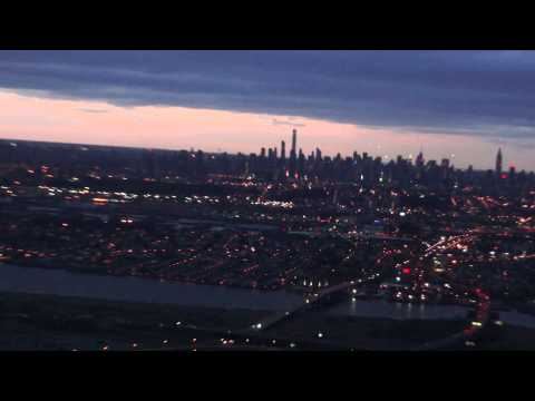 Flight over the Metlife stadium and the view of Manhattan