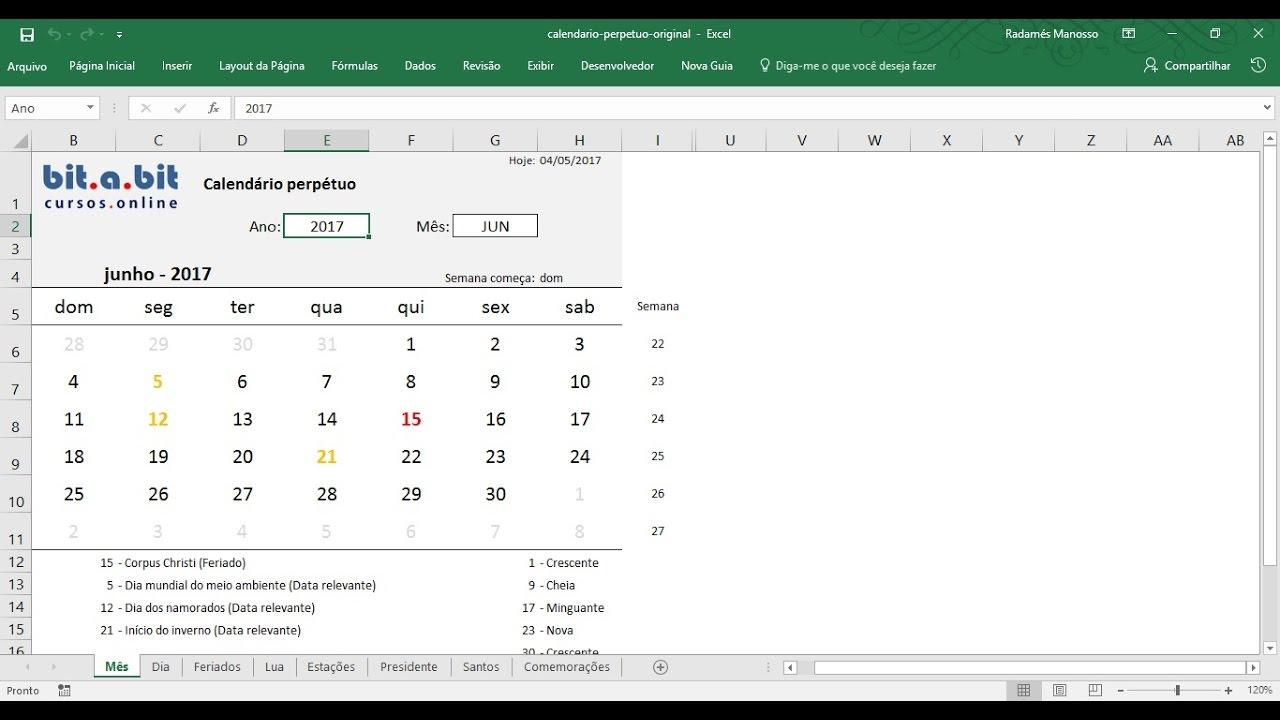 Calendario Su Excel.Calendario Permanente Em Excel