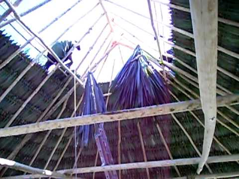 Palapa Roof Construction Inside View Youtube