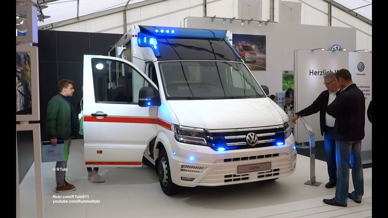 Volkswagen Crafter/ WAS ambulance close up on the RETTmobil 2018 expo in  Germany