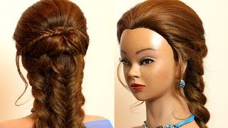 Braided hairstyle for long hair. Combo braids