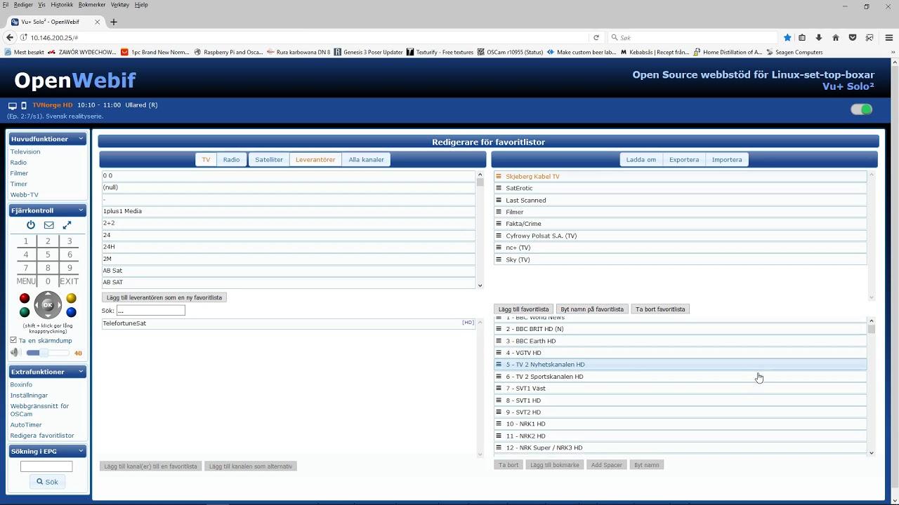 import export openwebif