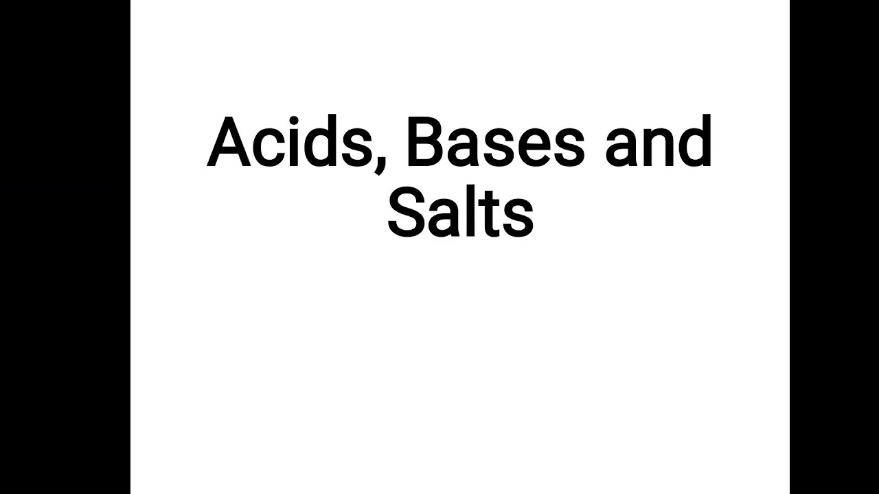 Chemistry, Class-10, Chapter-1, Acids, Bases and Salts