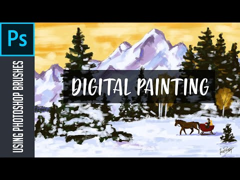 Snow fall painting | Landscape Panting | Digital  Painting | Photoshop Brushes