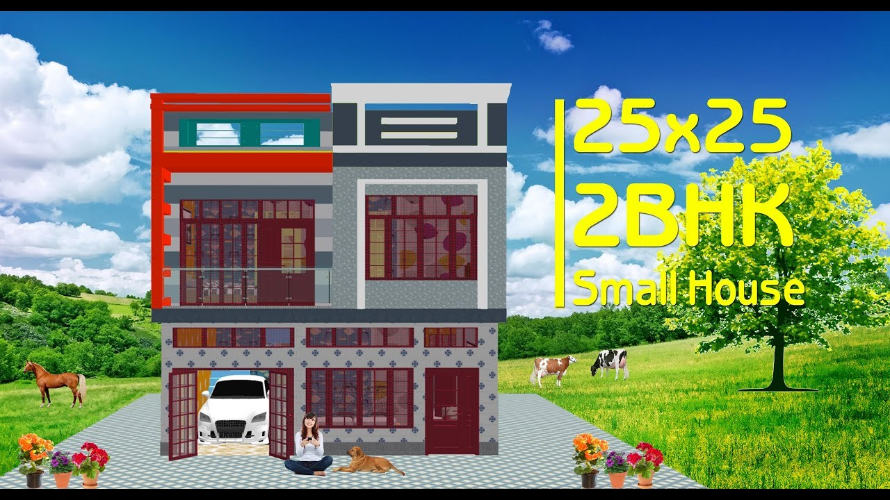2bhk New Home Design Idea For 25x25 Feet Small Area With Car Parking