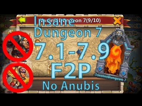 Castle Clash Insane Dungeon 7 (1-9) ➥ Without Mino Anubis Mage ➥ F2P