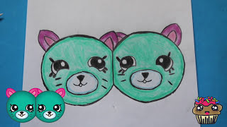 """How to Draw Shopkins Season 4 """"Earring Twins"""" Petkins Step By Step Easy 
