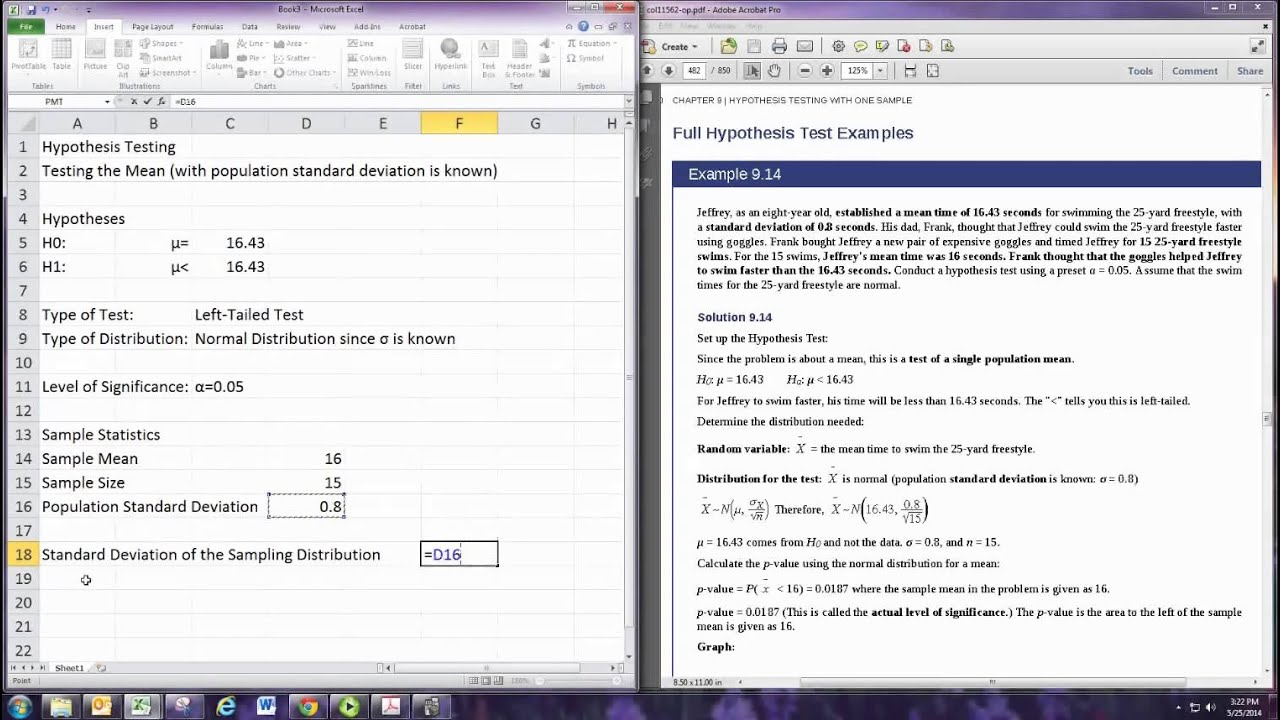 Hypothesis Testing Excel Z Test