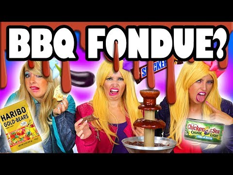 BBQ Fondue Challenge with Gummy Worms, Donuts & Unusual Foods. Totally TV