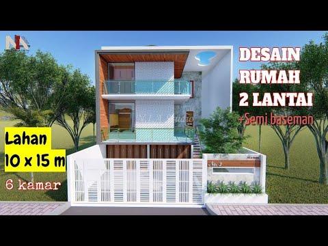 desain rumah 2 lantai _ lahan 10 × 15 m 6 kamar (+ semi