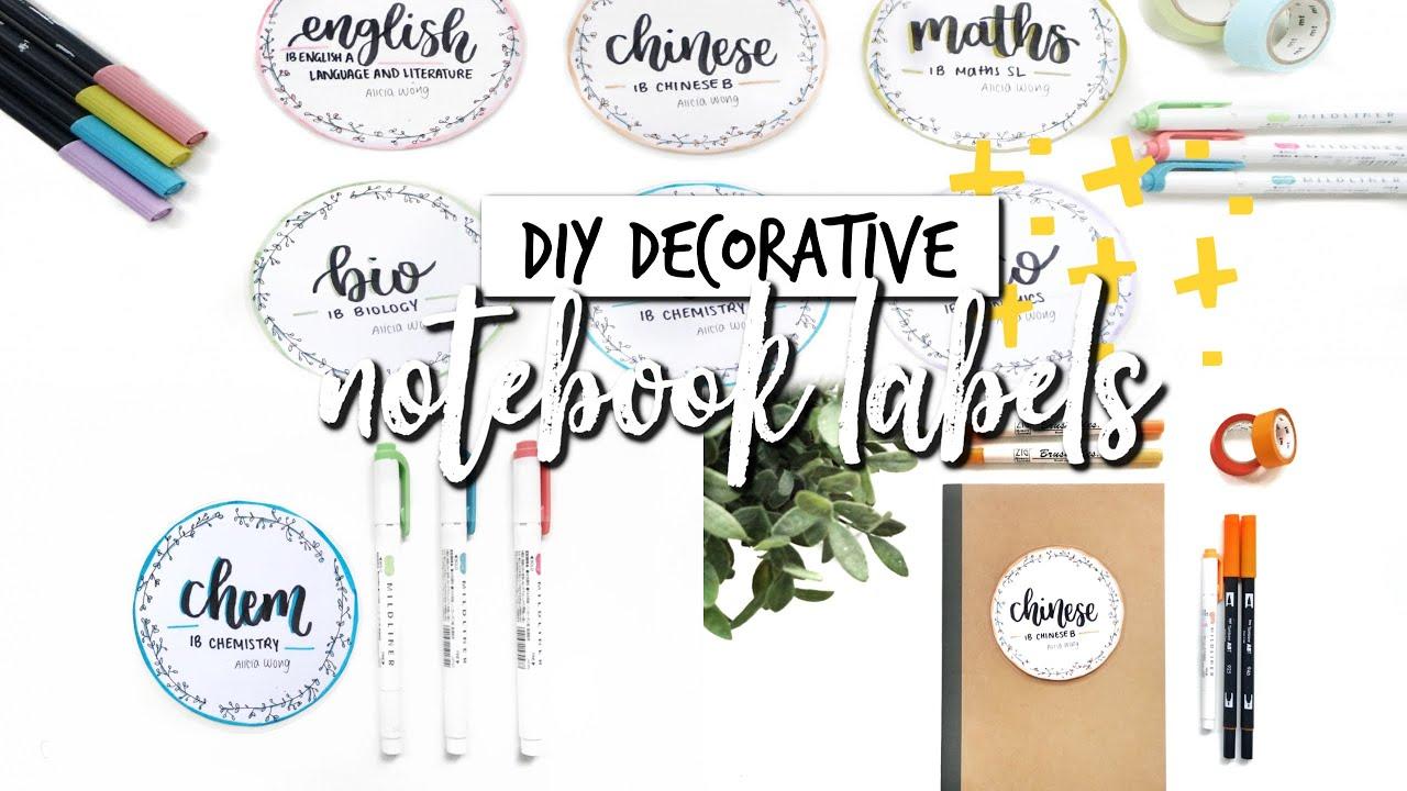 Diy Decorative Notebook Labels Studycollab Alicia