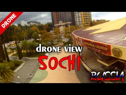 Sochi, Russia - drone view. Central beach, sea port, center