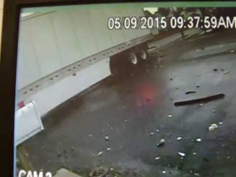 Semi Crashes into Route 68 Trailer Sales in Kenton April 9th 2015