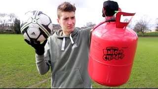 Filling FOOTBALLS with HELIUM!! - Does it make a Difference??