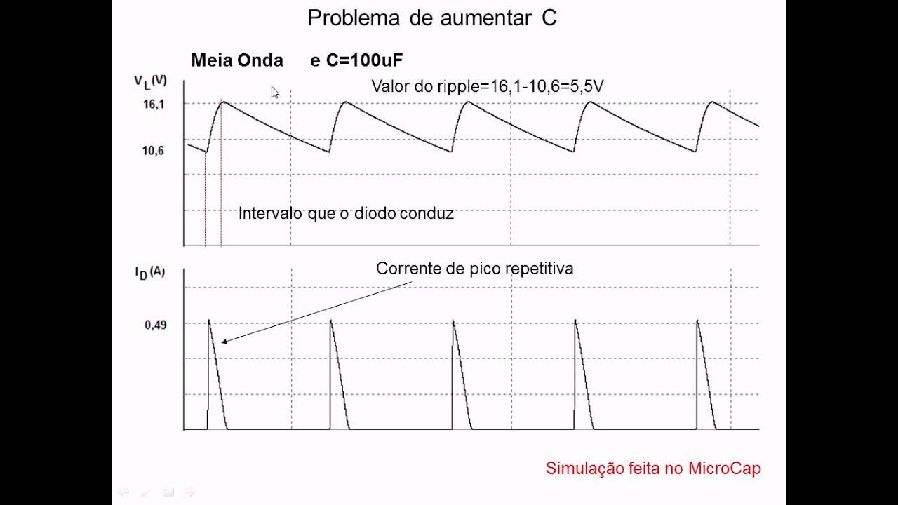 Circuito Retificador : Aula retificadores com filtro capacitivo youtube