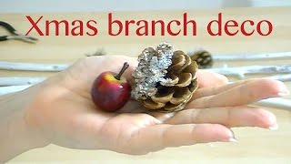Christmas decoration with wooden branches