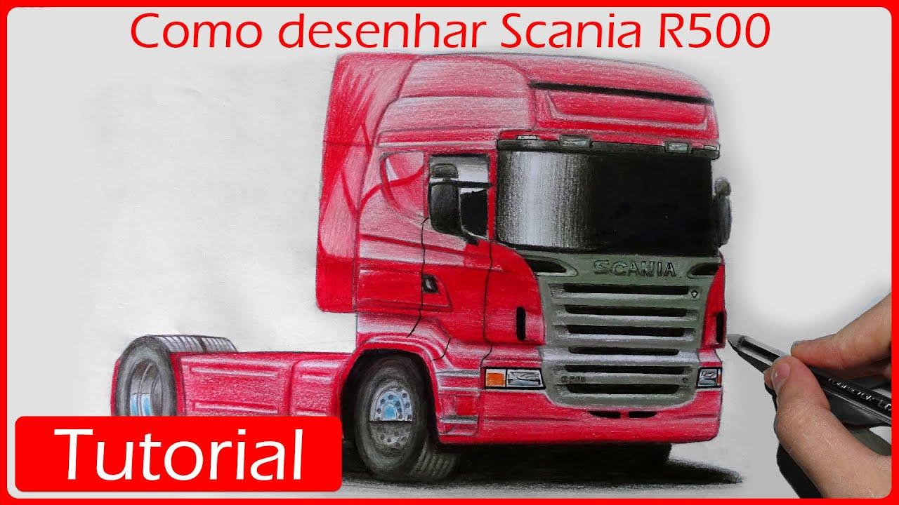 Como Desenhar Um Caminhao Scania R500 Youtube