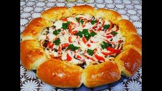 Пицца ЦВЕТОК рецепт пиццы ДРОЖЖЕВОЕ тесто на пиццу Очень ВКУСНАЯ и СЫТНАЯ пицца