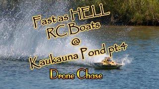 DJI P3A drone chasing RC boats at Kaukauna pond pt.4