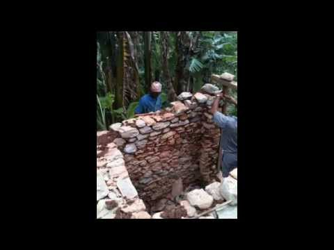 Building a toilet village style--stones broken/shaped with a hammer and set with mud.