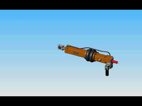 """Sharpe Systems Corp 3.25"""" bore 42"""" stroke hydraulic cylinder air bag cushioned log carriage actuator"""