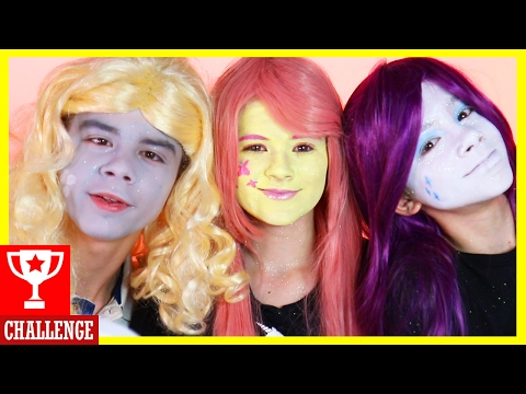 MY LITTLE PONY FACE PAINT MAKEUP CHALLENGE!  Fluttershy vs Rarity vs Derpy  | KITTIESMAMA