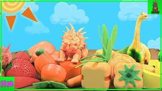 Dinosaurs love to eat! | Learning Fruits and Vegetables | Educational Videos for Toddlers