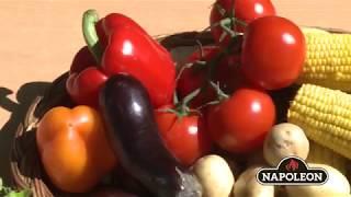Одновременное приготовление перепелок и овощей на вертеле гриля Napoleon Prestige 500