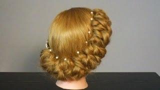 Свадебная прическа на средние волосы. Wedding  prom hairstyles