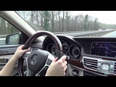 Mercedes-Benz E350 cruising on the autobahn at 125 mph
