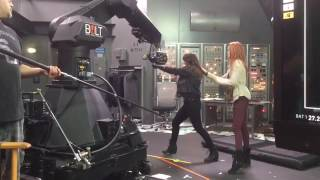 Chloe Bennet and Alicia Vela-Bailey Shooting Season 2 Finale Fight Scene