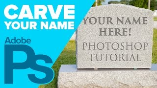 How to Carve your Name on a TOMBSTONE in Photoshop for HALLOWEEN!