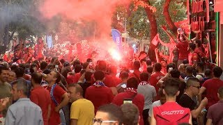 Liverpool fans party in Istanbul ahead of UEFA Super Cup Final