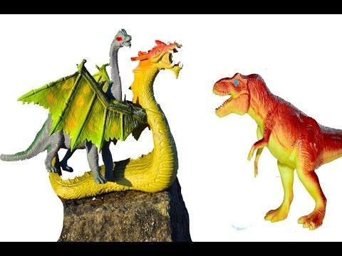 Дракон Динозавр Тиранозавр. Мультфильм для детей про динозавров и дракона