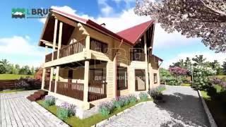 видео Деревянный дом с террасами. Клееный брус, проект СП-300.