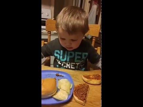 Toddler gets a sloppy joe for the first time, thinks it is poop
